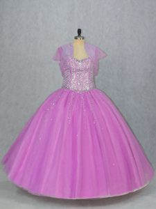 Floor Length Ball Gowns Sleeveless Lilac Quinceanera Dress Lace Up