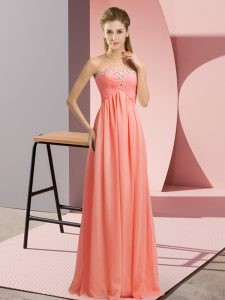 Dazzling Halter Top Sleeveless Chiffon Dress for Prom Beading Lace Up