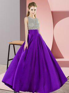 Dazzling Purple Scoop Neckline Beading Prom Dresses Sleeveless Backless