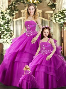Adorable Fuchsia Tulle Lace Up Strapless Sleeveless Floor Length Sweet 16 Dresses Beading