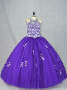 Captivating Purple Sleeveless Beading and Appliques Floor Length Quinceanera Dresses