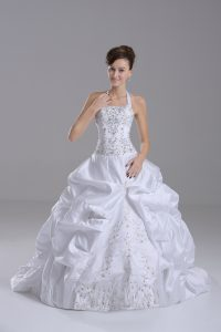 Custom Design Sleeveless Brush Train Beading and Embroidery and Pick Ups Lace Up Wedding Dresses