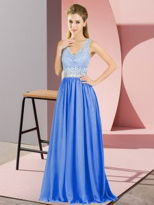 Custom Designed Floor Length Blue Pageant Dress for Teens V-neck Sleeveless Backless