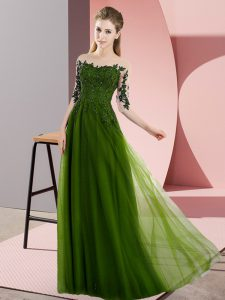 Eye-catching Olive Green Empire Bateau Half Sleeves Chiffon Floor Length Lace Up Beading and Lace Quinceanera Dama Dress