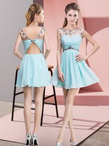 Dynamic Light Blue Empire Beading and Ruching Cocktail Dresses Backless Chiffon Sleeveless Mini Length