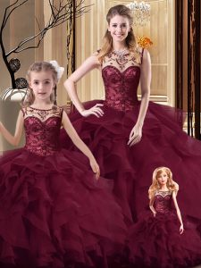 Elegant Burgundy Lace Up Vestidos de Quinceanera Beading and Ruffles Sleeveless Brush Train