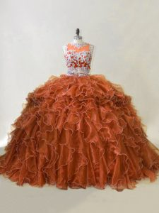 Trendy Organza Sleeveless Sweet 16 Quinceanera Dress Brush Train and Beading and Ruffles