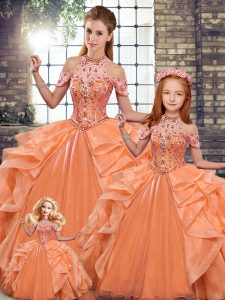 Luxurious Orange Halter Top Neckline Beading and Ruffles Quinceanera Gowns Sleeveless Lace Up