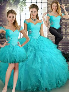 Floor Length Lace Up Quince Ball Gowns Aqua Blue for Military Ball and Sweet 16 and Quinceanera with Beading and Ruffles