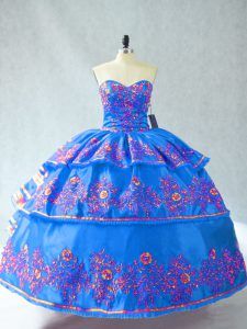 Ball Gowns Quinceanera Dresses Blue Sweetheart Organza Sleeveless Floor Length Lace Up
