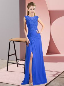 Affordable Sleeveless Zipper Floor Length Lace and Appliques Homecoming Gowns