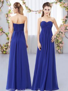 Perfect Sleeveless Floor Length Ruching Zipper Quinceanera Dama Dress with Royal Blue