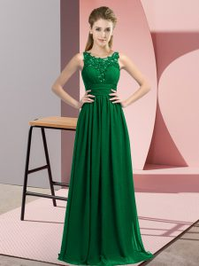 Popular Beading and Appliques Vestidos de Damas Dark Green Zipper Sleeveless Floor Length