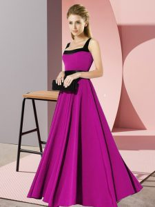 Fuchsia Empire Belt Quinceanera Court of Honor Dress Zipper Chiffon Sleeveless Floor Length
