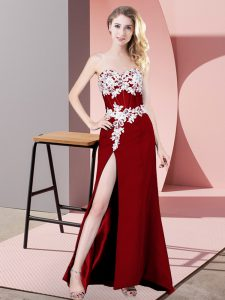 Floor Length Red Pageant Gowns Chiffon Sleeveless Lace and Appliques