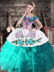 Best Floor Length Aqua Blue Ball Gown Prom Dress Off The Shoulder Sleeveless Lace Up