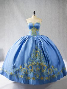 Enchanting Blue Sweet 16 Dresses Sweet 16 and Quinceanera with Embroidery Sweetheart Sleeveless Side Zipper