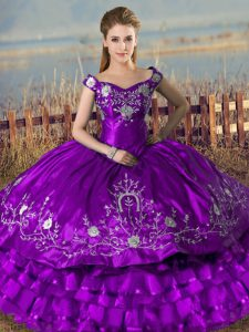 Sleeveless Lace Up Floor Length Embroidery and Ruffled Layers Quinceanera Gowns