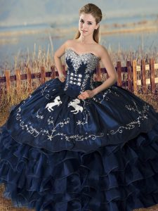 Comfortable Sleeveless Satin and Organza Floor Length Lace Up Vestidos de Quinceanera in Navy Blue with Embroidery and Ruffles