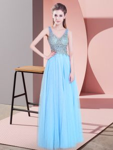 Clearance Sleeveless Tulle Floor Length Zipper Evening Outfits in Baby Blue with Beading