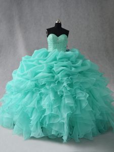 Fitting Floor Length Aqua Blue 15 Quinceanera Dress Organza Sleeveless Beading and Ruffles and Pick Ups