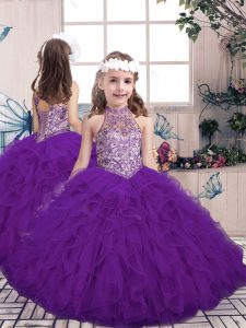 Top Selling Purple Kids Formal Wear Party and Wedding Party with Beading and Ruffles High-neck Sleeveless Lace Up