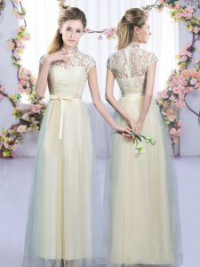 Floor Length Empire Cap Sleeves Champagne Damas Dress Zipper