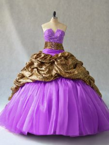 New Style Floor Length Ball Gowns Sleeveless Lavender Quinceanera Gowns Lace Up