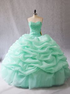High Class Organza Sleeveless Floor Length Quinceanera Gown and Beading and Pick Ups