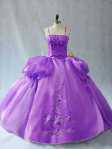 Custom Fit Lavender Ball Gowns Spaghetti Straps Sleeveless Organza Floor Length Lace Up Appliques Quinceanera Gowns
