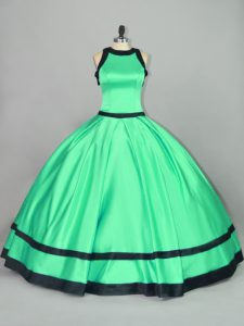 High Class Floor Length Ball Gowns Sleeveless Apple Green Quinceanera Dresses Zipper