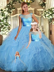 Trendy Baby Blue Sleeveless Lace and Ruffles Floor Length Quinceanera Dress