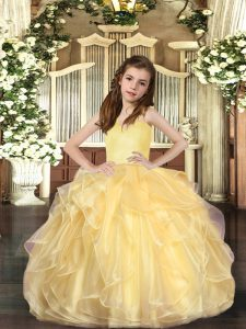 Fashion Ball Gowns Evening Gowns Gold Straps Organza Sleeveless Floor Length Lace Up