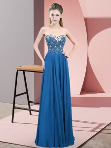 Blue Sleeveless Beading Floor Length Prom Dress
