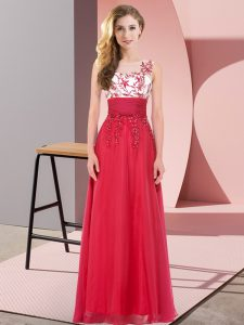Cute Scoop Sleeveless Wedding Party Dress Floor Length Appliques Red Chiffon