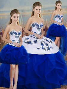 Eye-catching Royal Blue Sleeveless Embroidery and Ruffles and Bowknot Floor Length Sweet 16 Dresses