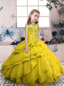 Organza High-neck Sleeveless Side Zipper Beading and Ruffled Layers Pageant Dresses in Olive Green
