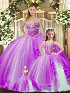Lavender Quinceanera Dresses Sweet 16 and Quinceanera with Beading Sweetheart Sleeveless Lace Up