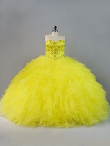 Gorgeous Sweetheart Sleeveless Lace Up Ball Gown Prom Dress Yellow Tulle