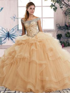 Customized Floor Length Lace Up Sweet 16 Dresses Champagne for Military Ball and Sweet 16 and Quinceanera with Beading and Ruffles