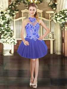 Blue Halter Top Lace Up Embroidery Club Wear Sleeveless