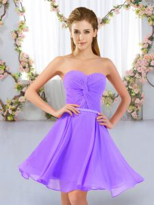 Lavender Sweetheart Lace Up Ruching Dama Dress Sleeveless