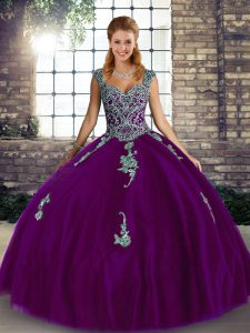 Purple 15th Birthday Dress Military Ball and Sweet 16 and Quinceanera with Beading and Appliques Straps Sleeveless Lace Up