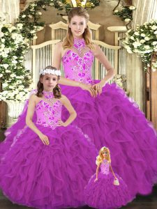 Sleeveless Lace Up Floor Length Embroidery and Ruffles Sweet 16 Quinceanera Dress