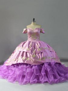 Lavender Quince Ball Gowns Sweet 16 and Quinceanera with Beading and Embroidery and Ruffles Off The Shoulder Sleeveless Chapel Train Lace Up