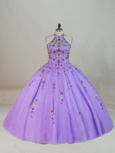 Dynamic Lavender Ball Gowns Halter Top Sleeveless Tulle Brush Train Lace Up Beading and Embroidery 15 Quinceanera Dress