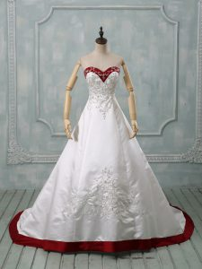 Classical Lace Up Wedding Gown White for Wedding Party with Beading and Embroidery Brush Train