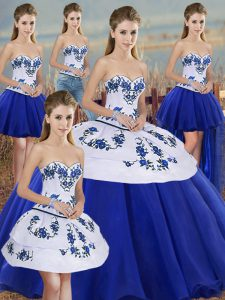 Cute Sweetheart Sleeveless Lace Up 15 Quinceanera Dress Royal Blue Tulle