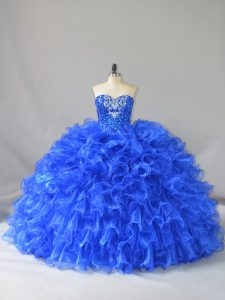Ruffles and Sequins Quince Ball Gowns Royal Blue Lace Up Sleeveless Floor Length