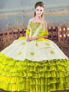 Olive Green Sweetheart Lace Up Beading and Ruffled Layers Quinceanera Gown Sleeveless